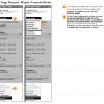 Wireframes of a report generation interface at narrow (mobile) width.