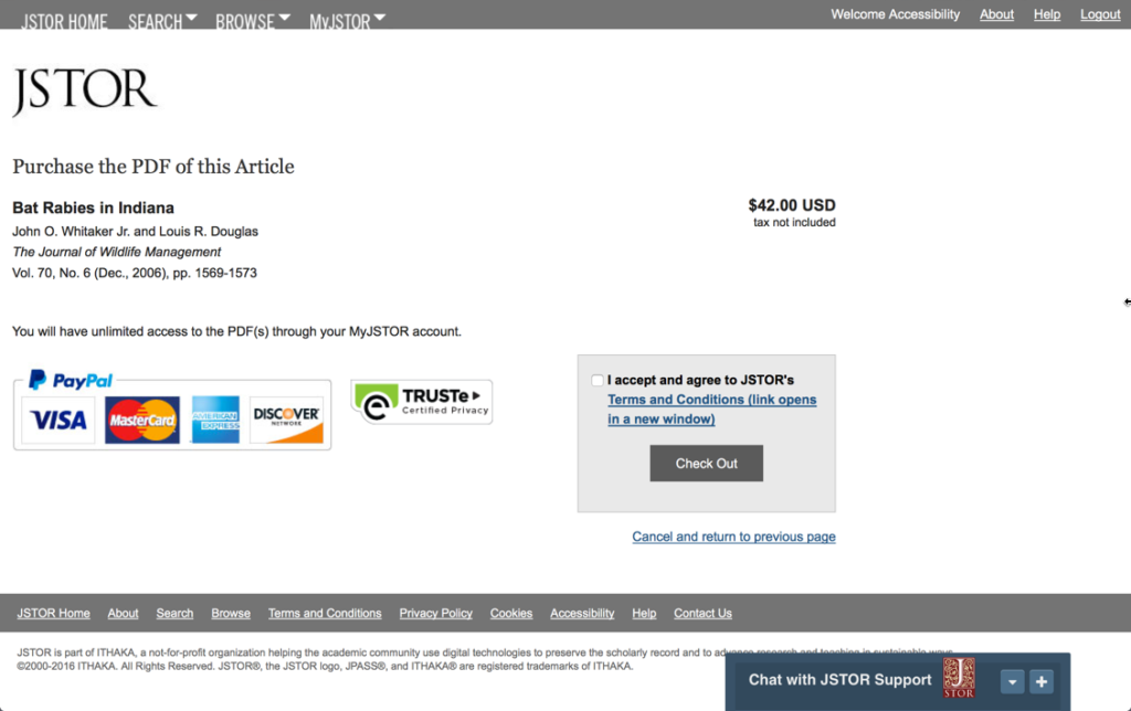 The current item review page on JSTOR—the first step of the ecommerce checkout.